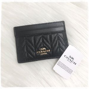 NWT! Coach Quilted Card Case Holder - Black